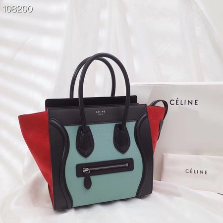 CELINE MICRO LUGGAGE HANDBAG IN LAMINATED LAMBSKIN 167793-1