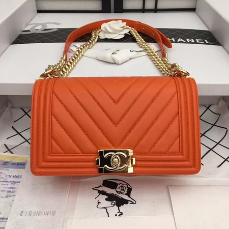 Chanel Boy Flap Shoulder Bag Original Sheepskin Leather A67086 orange