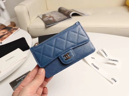 Chanel classic card holder AP0374 blue