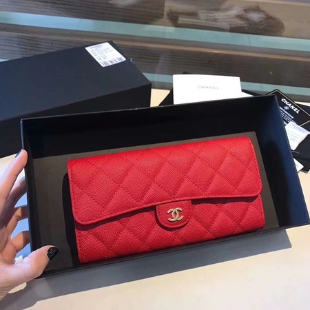 Chanel long flap wallet A80759 red
