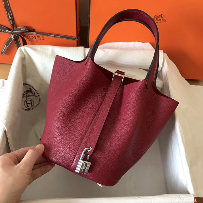 Hermes Picotin Lock PM Bags Original Leather H8688 wine red