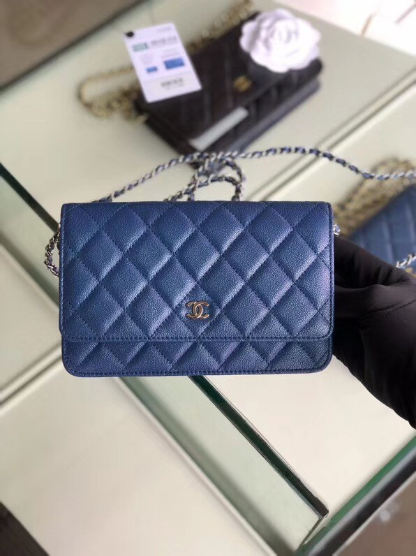 Chanel classic wallet on chain Grained Calfskin & Silver-Tone Metal 33814 Pearlescent blue