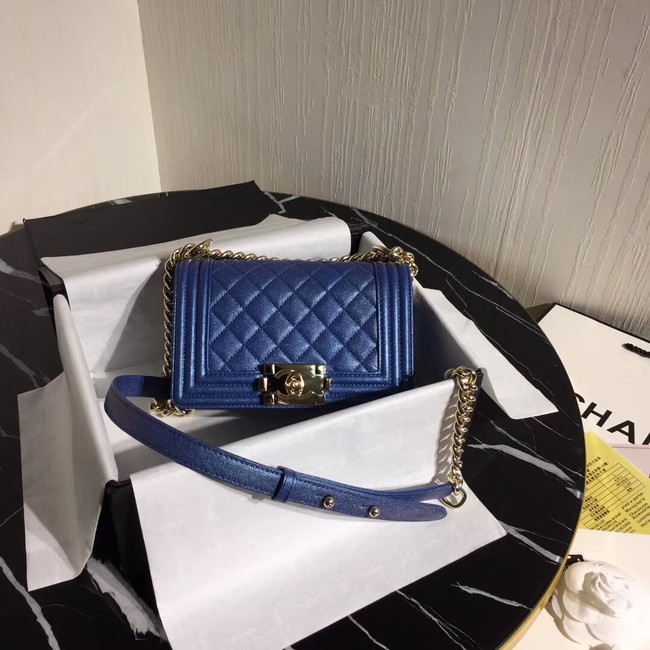 Boy Chanel Flap Shoulder Bag Original Leather Blue A67085 Gold