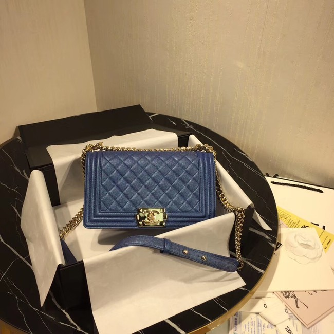 Chanel Le Boy Flap Shoulder Bag Original Leather Blue A67086 Gold