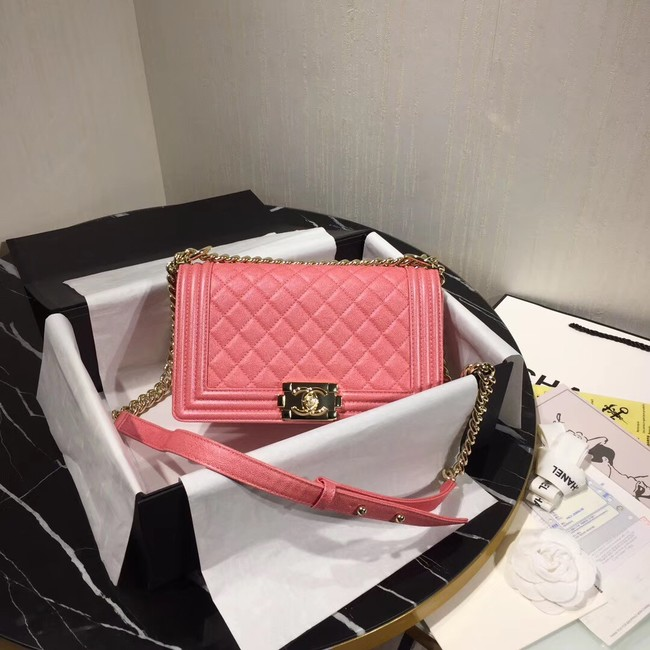 Chanel Le Boy Flap Shoulder Bag Original Leather Pink A67086 Gold
