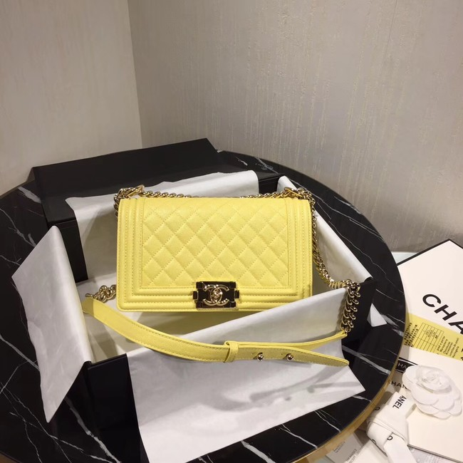 Chanel Le Boy Flap Shoulder Bag Original Leather Yellow A67086 Gold