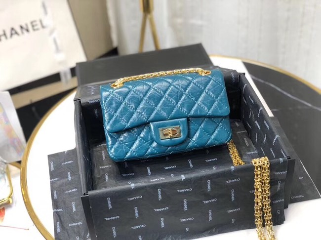 Chanel Shoulder Bag Original Leather Blue AS0874 Gold