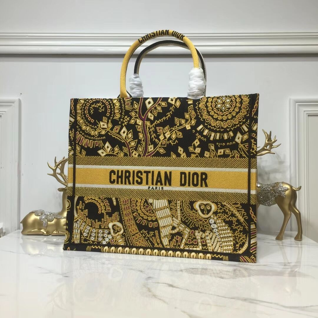 DIOR BOOK TOTE BAG IN EMBROIDERED CANVAS C1286 Gold