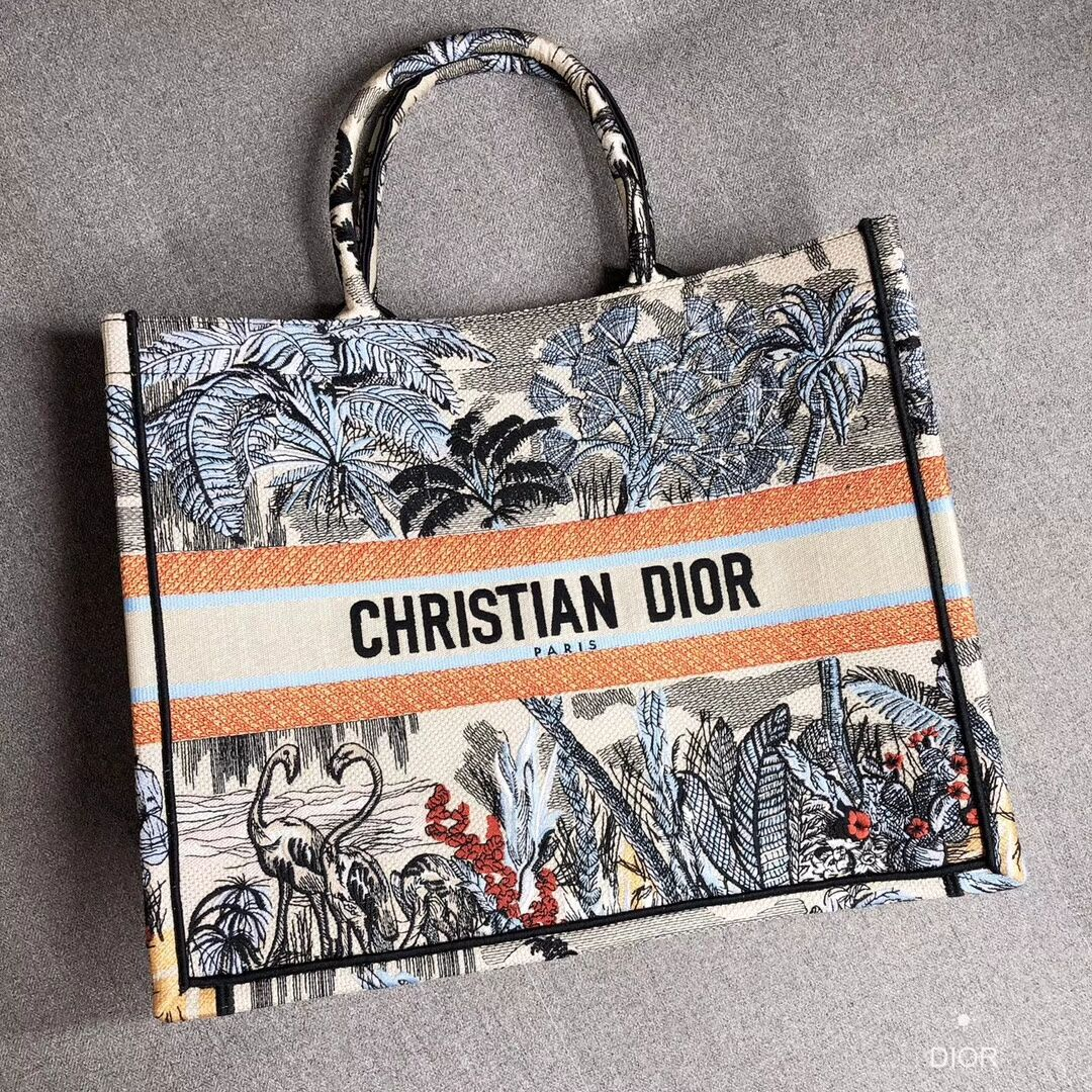 DIOR BOOK TOTE BAG IN EMBROIDERED CANVAS C1286 Light Grey