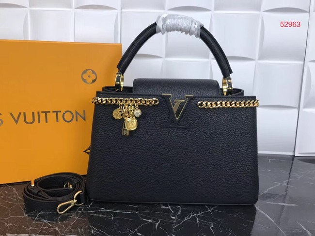 Louis Vuitton Original Leather CAPUCINES PM M52963 Black