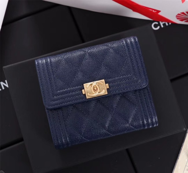 Chanel Calfskin Leather & Gold-Tone Metal A80734 blue