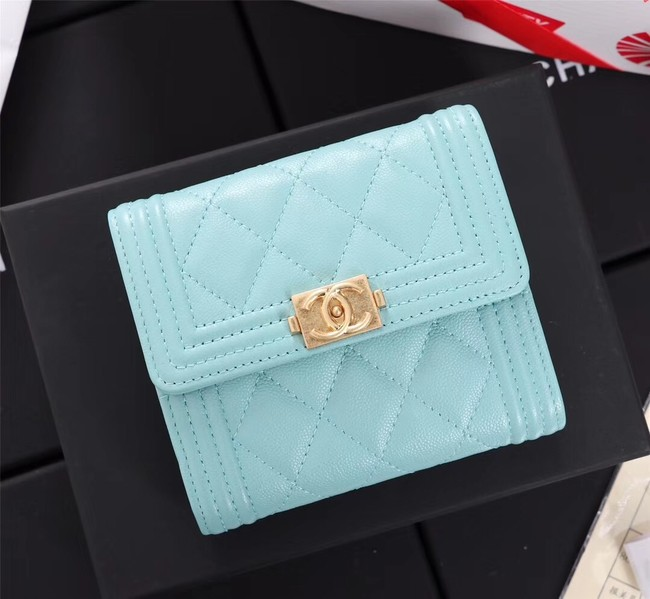Chanel Calfskin Leather & Gold-Tone Metal A80734 sky blue