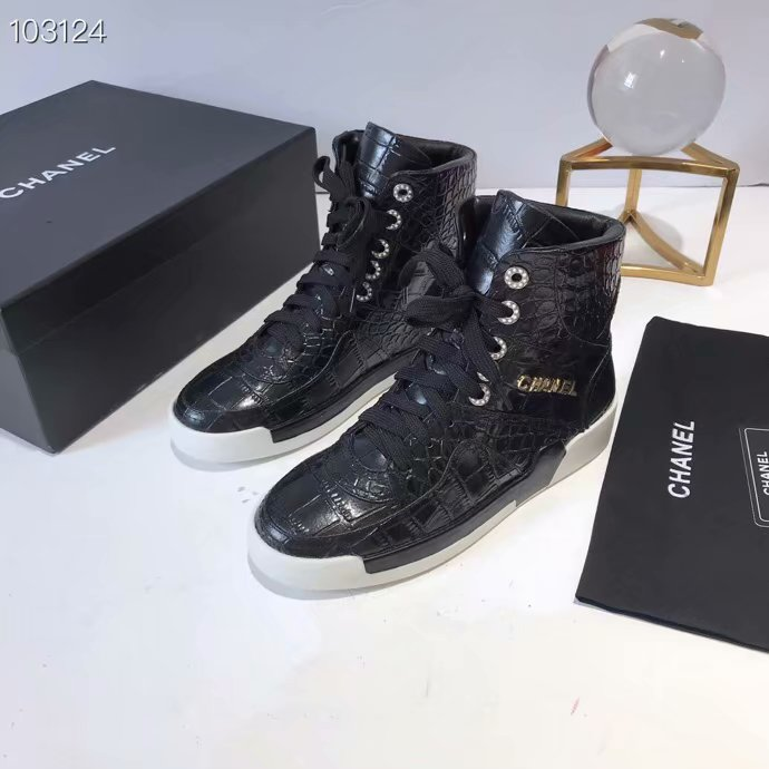 Chanel Shoes Crocodile CH2535JYX Black