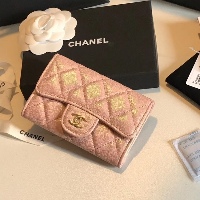 Chanel card holder Calfskin & Gold-Tone Metal A80799 pink