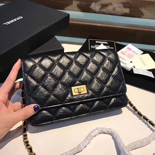 Chanel Calfskin & Gold-Tone Metal S33814 black