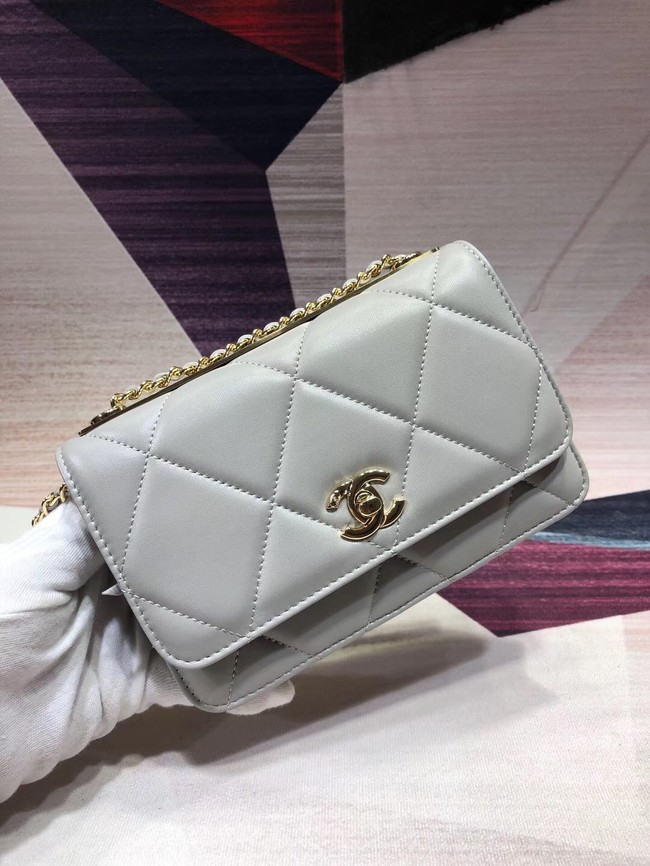 Chanel Original Leather Shoulder Bag Light Blue A80982 Gold