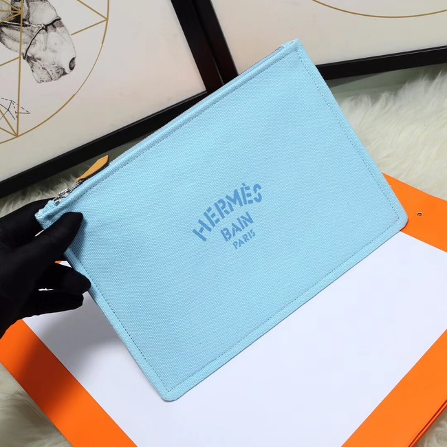 Hermes Cosmetic Bag H3700 Sky Blue