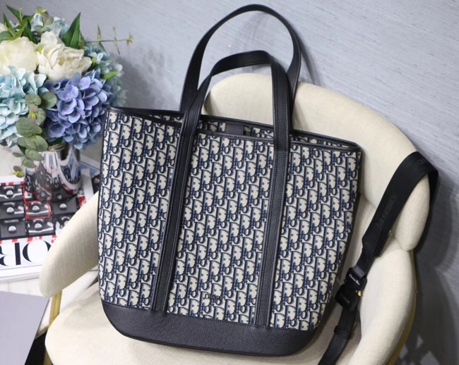 DIOR TOTE BAG IN EMBROIDERED CANVAS C1333 black