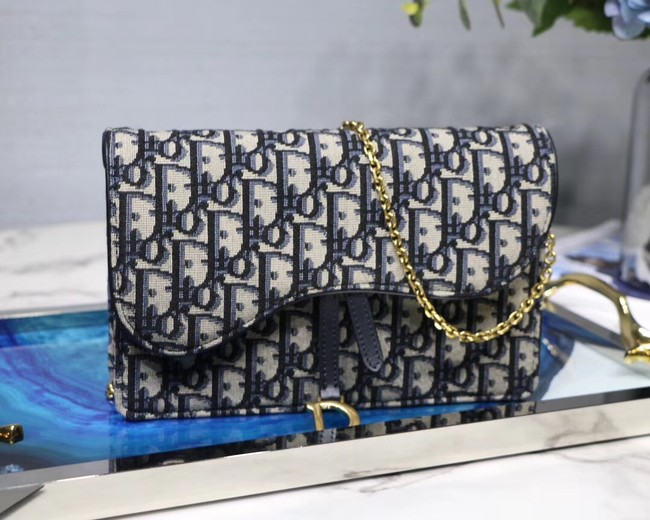 Dior SADDLE DENIM CANVAS Chain Clutch bag S5614 dark blue
