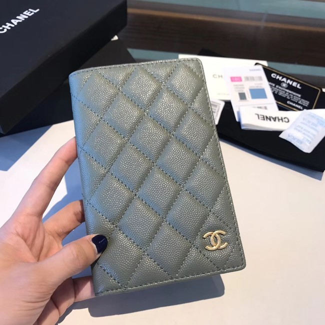 Chanel Calfskin Leather & Gold-Tone Metal Wallet A80385 Green