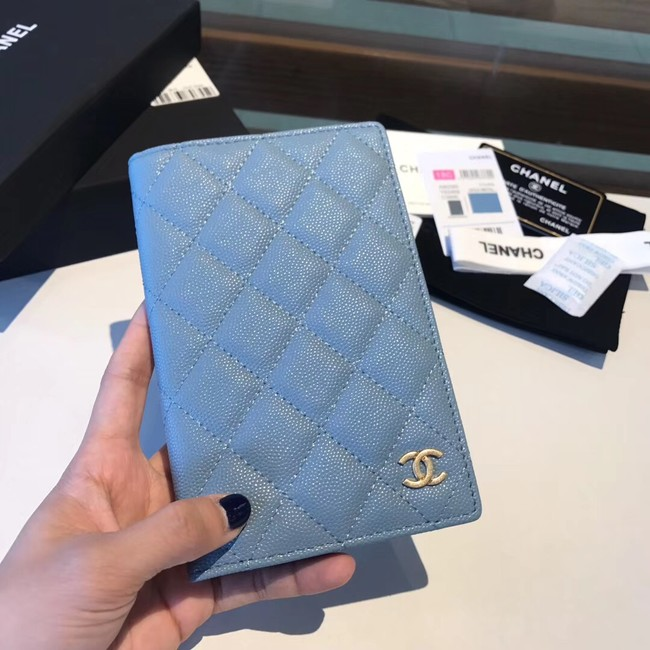 Chanel Calfskin Leather & Gold-Tone Metal Wallet A80385 Light Blue