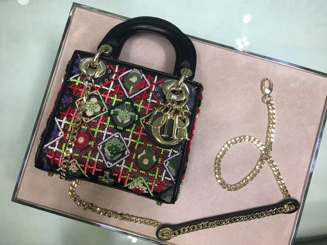 LADY DIOR embroidered cattle leather M05052