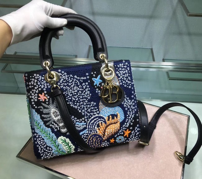 LADY DIOR embroidered cattle leather M05652