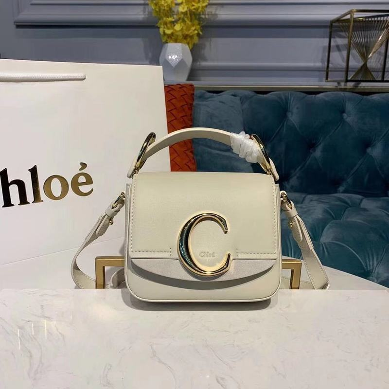 Chloe Original Calfskin Leather Top Handle Small Bag 3S030 White
