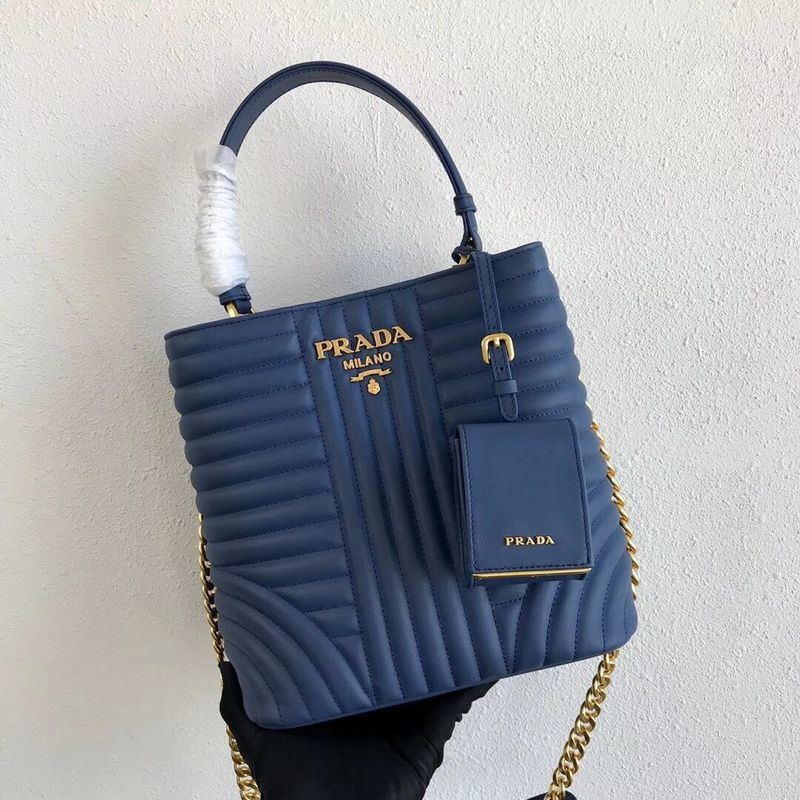 Prada Double Saffiano Original Calfskin Leather Bag 1BA212 Blue