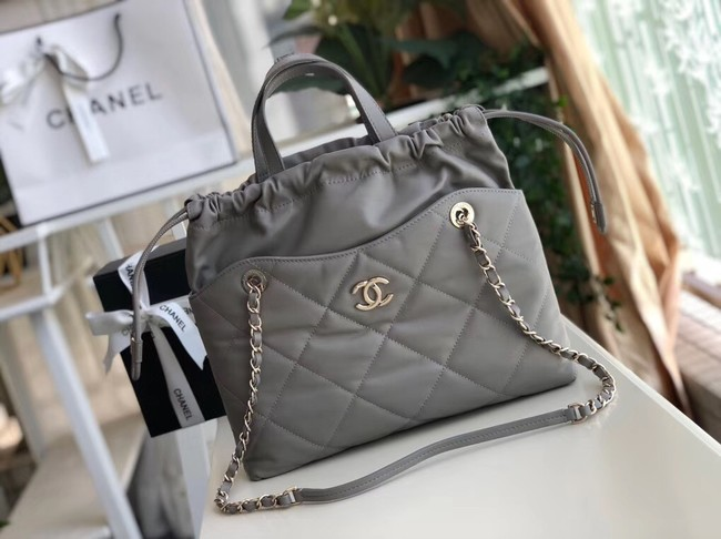 Chanel Classic Sheepskin Leather Shopping bag AS0985 grey