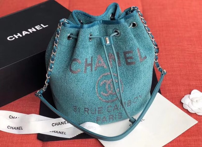 CHANEL Tweed Calfskin drawstring bag & Gold-Tone Metal AS0455 blue