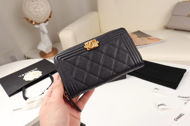 Chanel Calfskin Leather & Gold-Tone Metal Wallet A80566 black