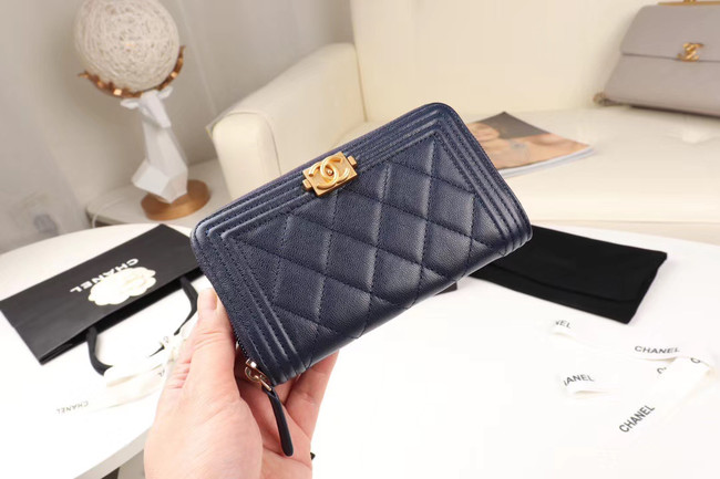 Chanel Calfskin Leather & Gold-Tone Metal Wallet A80566 dark blue
