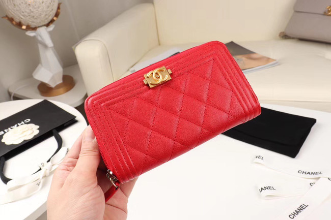 Chanel Calfskin Leather & Gold-Tone Metal Wallet A80566 red