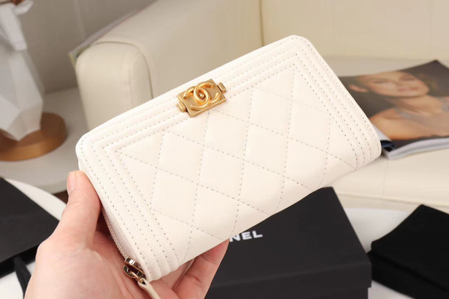 Chanel Calfskin Leather & Gold-Tone Metal Wallet A80566 white