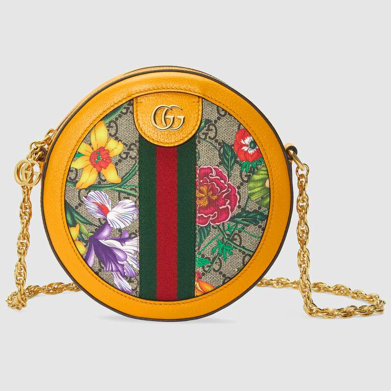 Gucci Ophidia series GG flower round Mini Shoulder Bag 550618 yellow