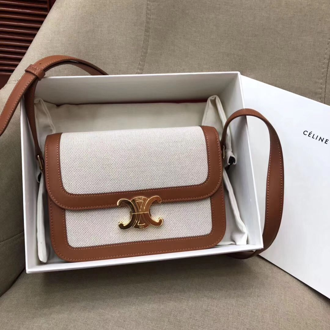 CELINE LARGE TRIOMPHE BAG IN TEXTILE AND NATURAL CALFSKIN 18887 Brown