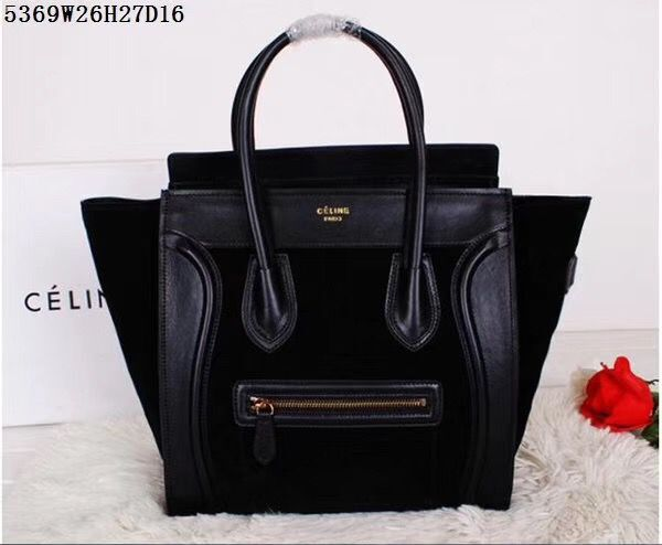 Celine Luggage Micro Tote Bag Original Suede Leather CL5369 Black