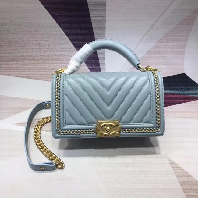Chanel Leboy Original leather Shoulder Bag V67086 light blue & gold -Tone Metal