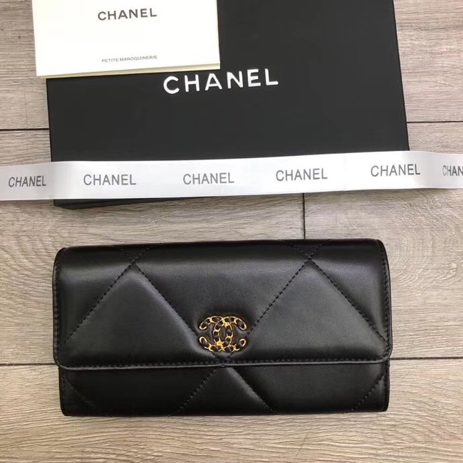 Chanel sheepskin & Gold-Tone Metal Wallet A6871 black