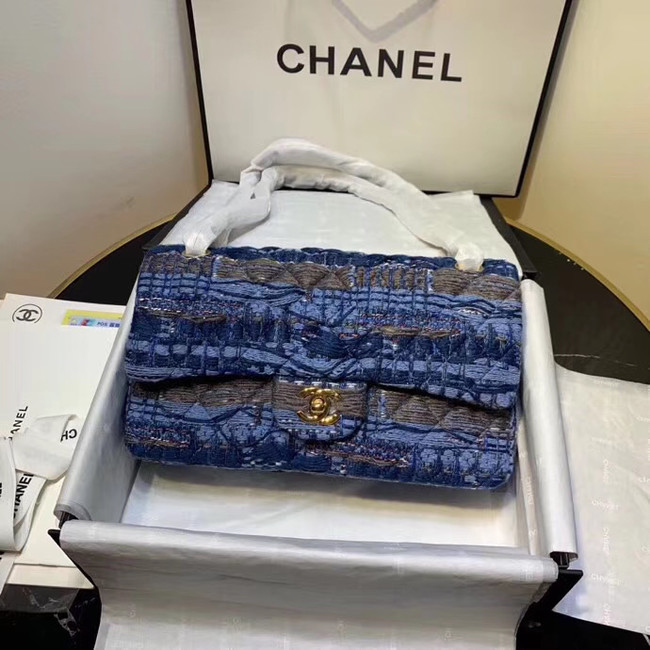 CHANEL Tweed Calfskin -Tone & Gold-Tone Metal AS1112 blue