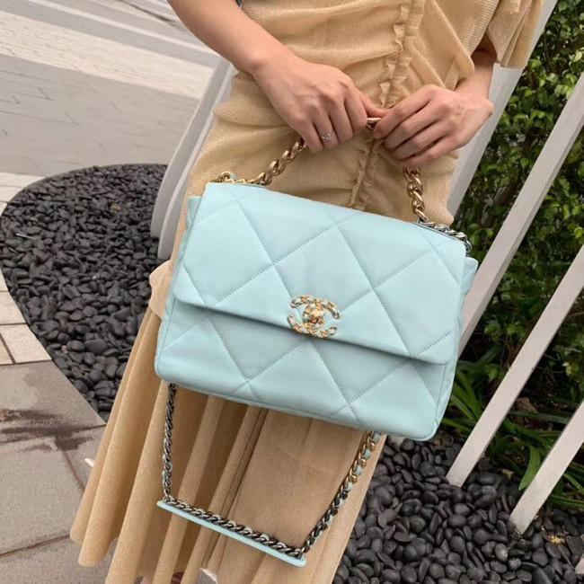 Chanel 19 flap bag AS1161 light blue