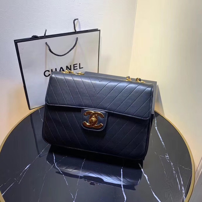 Chanel flap bag leather & Gold-Tone Metal 57276 Royal Blue