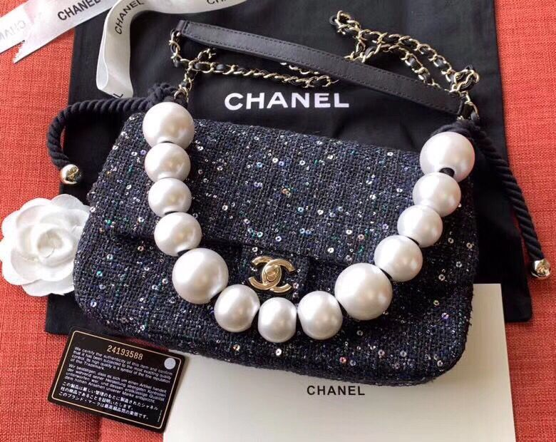 Chanel Original Pearl Shoulder Strap Bag A1112 Black
