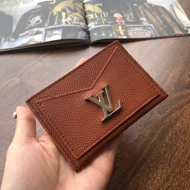 Louis vuitton original LOCKME CARD HOLDER M68555 brown