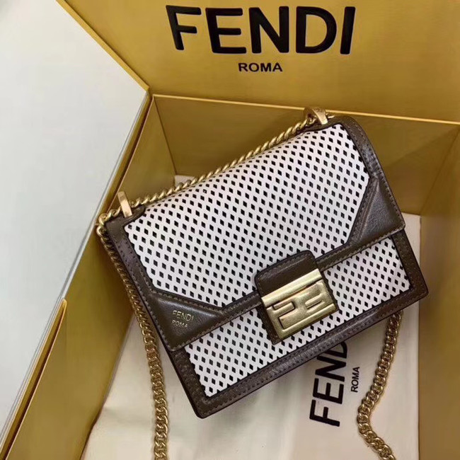 Fendi KAN U SMALL leather mini-bag 8BT312 Khaki&white