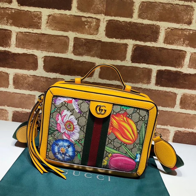 Gucci Ophidia GG Flora small shoulder bag 550622 yellow