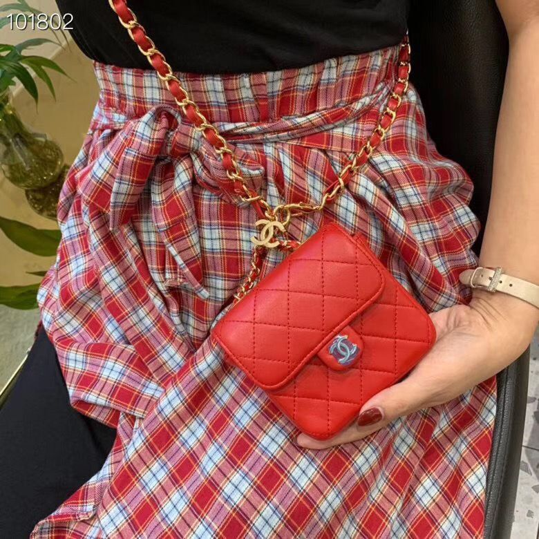 Chanel flap bag Calfskin & Gold-Tone Metal AS1196 Red