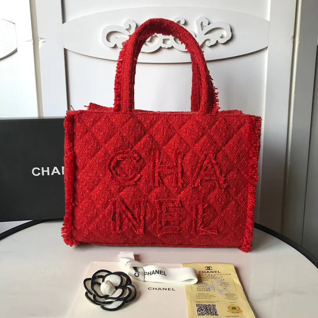 CHANEL zipped shopping bag AS0976 red