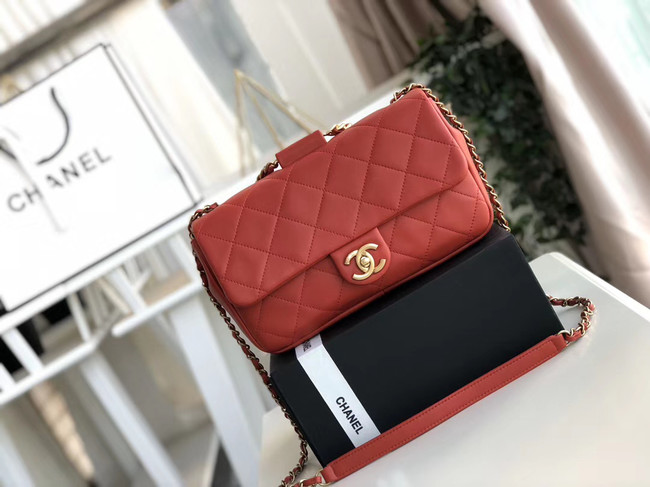 Chanel flap bag Lambskin & Gold Metal AS1358 red